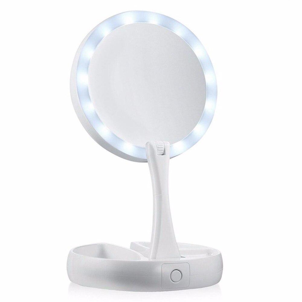 Espejo de maquillaje LED plegable de menor potencia compacto espejo de bolsillo para mujer herramienta de maquillaje Facial herramientas cosméticas de escritorio Dropshipping