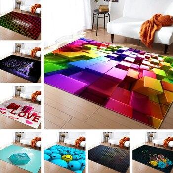 3D צבעוני רך סגנון פשוט שטיחים לסלון חדר שינה איזור רך שטיח רצפת הבית לקשט סלון שטיח בחדר שינה ילד