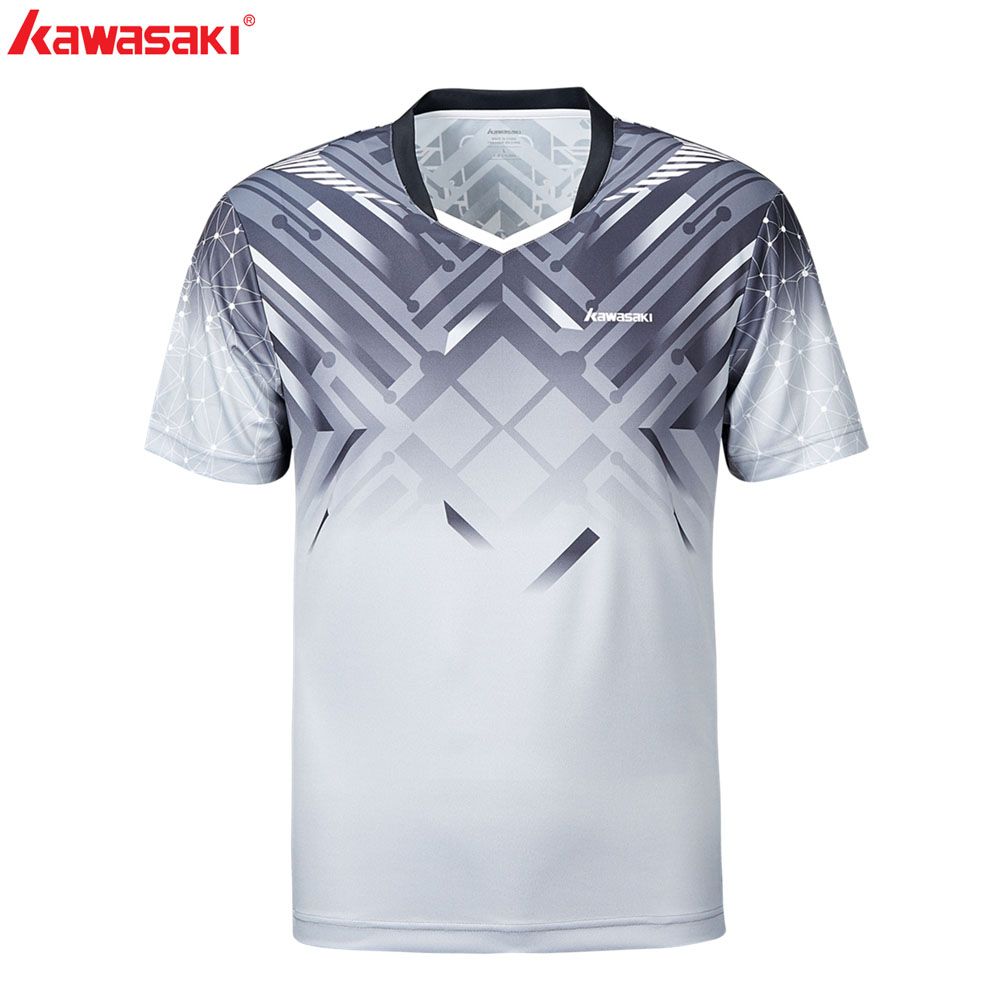 KAWASAKI Men Soccer Fitness T Shirt Short Sleeve 100 Polyester Breathable Quick Dry Running Badminton Sports T Shirts ST S1114 in Tennis T Shirts from Sports Entertainment