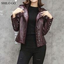 SHILO GO Leather Jacket Womens Autumn Fashion sheepskin genuine Leather Jacket lapel riveted zipper green wine red motorcycle