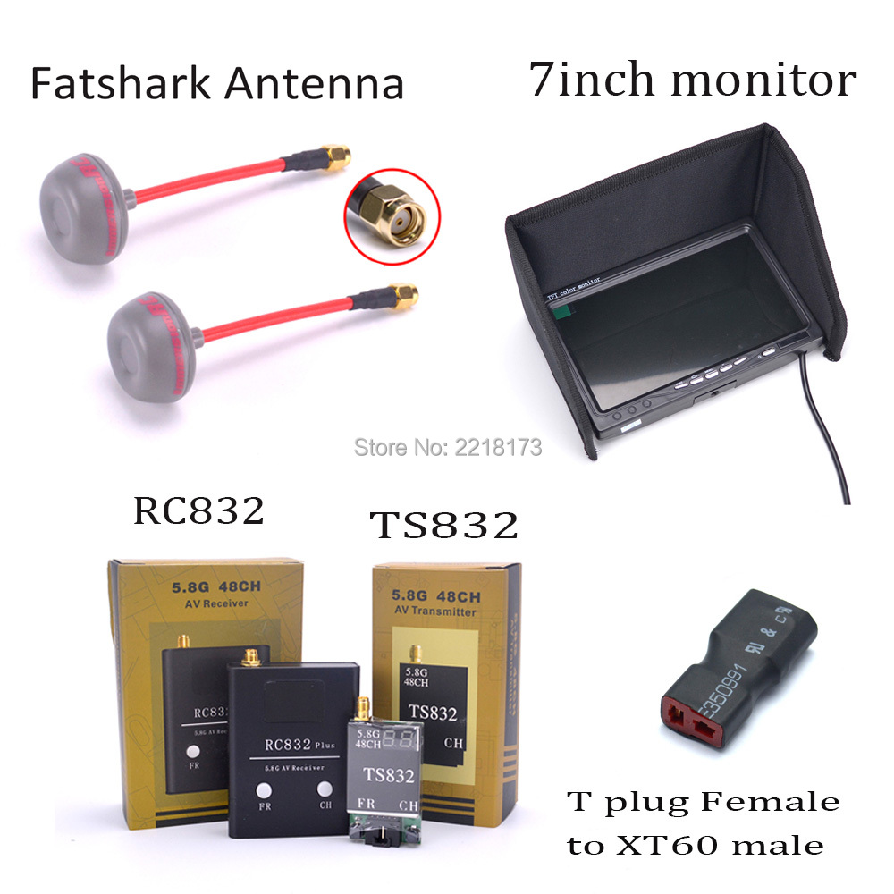 7 inch 7 LCD 1024 x 600 Monitor NO Blue FPV 5.8G TS832 Transmitter RC832 plus Receiver 600mW 48CH Fatshark Antenna For FPV Quad