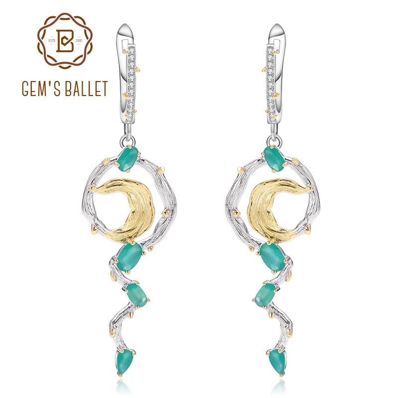 GEM S BALLET 100 925 Sterling Silver Fashion Drop Earrings For Women Natural Green Agate Engagement