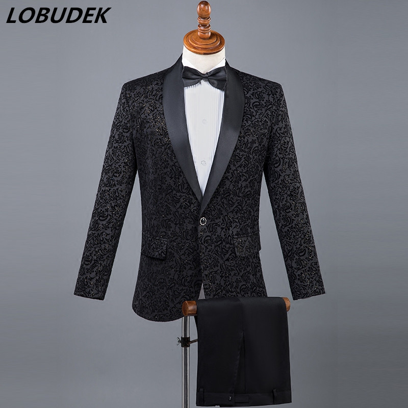 2018 Latest Male slim Suit Adult Costumes Black White Red Blue Blazers pants Suit singer Host Wedding Star Show Stage outfit