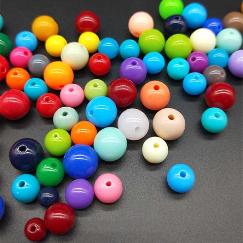DIY 200/200/100/100/50pcs/lot  3/4/6/8/10mm Cheap Hot Acrylic Beads Fits for Handmade Necklace Bracelet Jewelry Making Wholesale