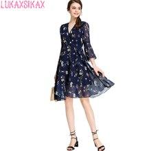 2017 New Women Summer Dress Sweet Floral Runway V Neck Sexy Dress Elegant Chiffon 3 4