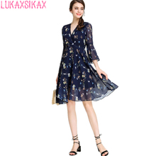 2017 New Women Summer Dress Sweet Floral Runway V-Neck Sexy Dress Elegant Chiffon 3/4 Speaker Sleeves Slim Party Dresses