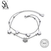 מתנה לשנה חדשה 925 כוכב כסף סטרלינג צמידים וצמידים לנשים יהלומים מלאכותיים תכשיטי קישור שרשרת צמיד נקבה שתי שכבה
