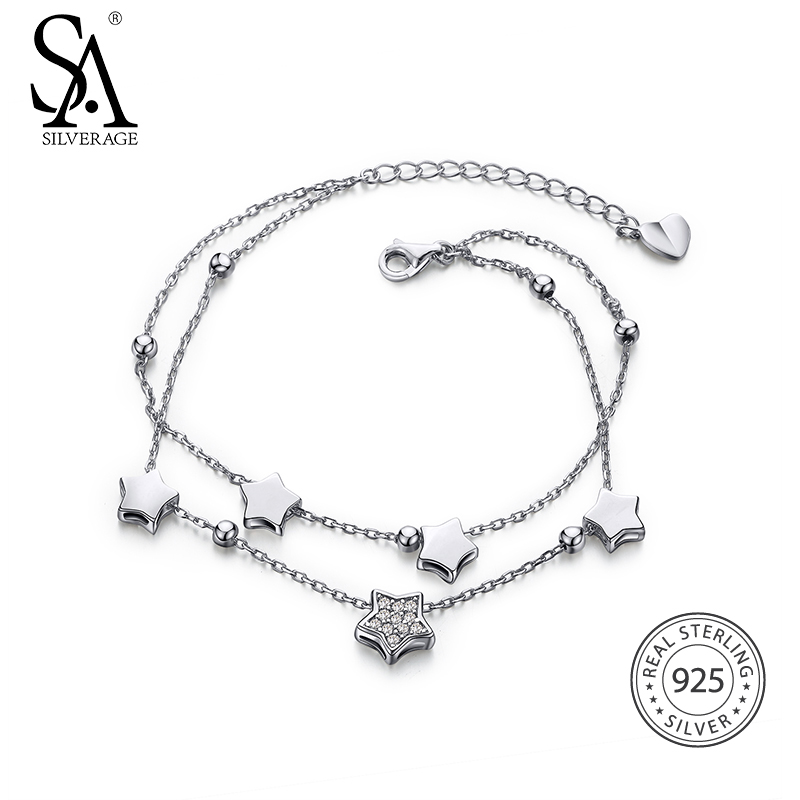 SA SILVERAGE Real 925 Sterling Silver Star Bracelets Bangles for Women Jewelry Rhinestone Two Layer Chain