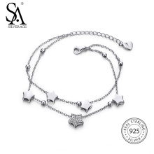 SA SILVERAGE Real 925 Sterling Silver Star Chain Link Bracelets Bangles Fine Jewelry Two Layer 925 Silver Charm Bracelet Female