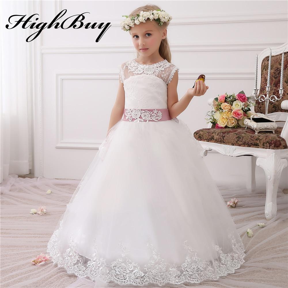 Hot Ivory White Lace Flower Girls Dresses 2017