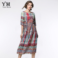 YuooMuoo New Summer Casual Bohemian Women Chiffon Dress Printed Half Sleeve Mid Calf Loose Dresses