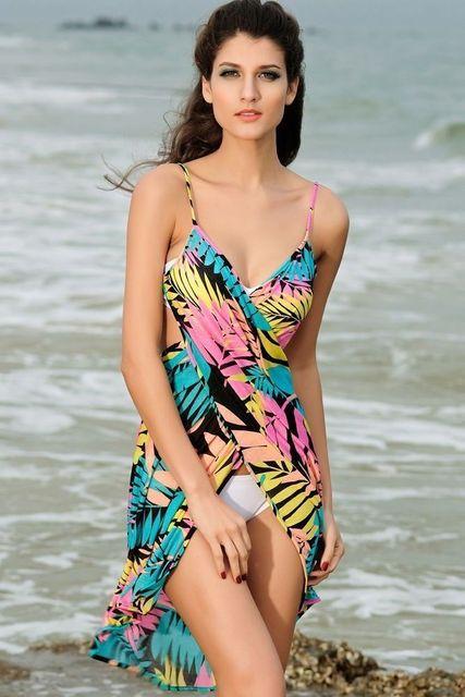 Saida de praia women summer Beach Dress Beach Cover Up Bikini Wrap Negril floral Print crossed beachwear Sarong pareo FJ41714 h2 10