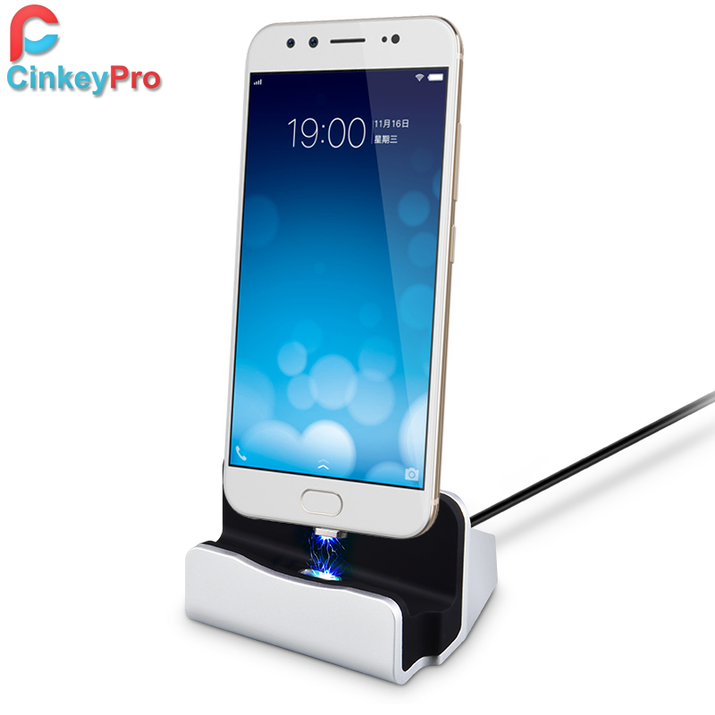 CinkeyPro Charger Dock For Samsung Mobile Phone Universal Magnetic Micro USB Wireless Design Dock 1M Cable Charging Station