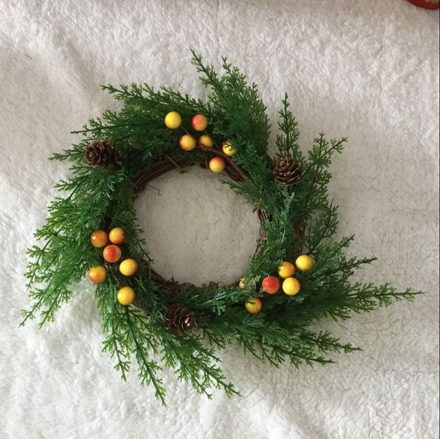 1pc American Country 25cm Pine and Cypress Branches Natural Christmas Door Wreath Garland Candles Home Decoration & 1pc American Country 25cm Pine and Cypress Branches Natural ...