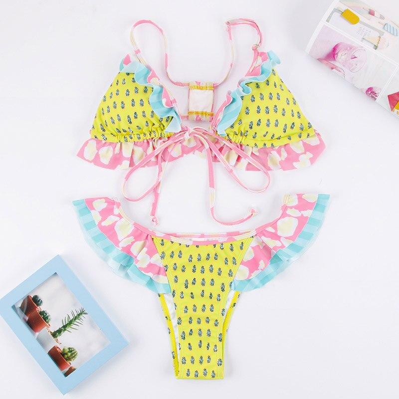 HTB1 83ielKw3KVjSZFOq6yrDVXaR Miyouj Floral Bikini Bandage Bow Swimsuit Push Up Swimwear Women Print Biquini Feminino 2018 Bathing Suit Monokini Bikini Set