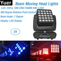 2 adet/grup Dj ekipmanları 25X12W LED matris ışın hareketli kafa ışıkları CREE LED lamba disko ışıkları düğün noel süslemeleri