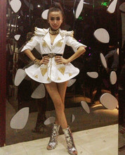 white armor dancer Fashion female singer ds costumes dj costum rivet tailored skirt bodysuit nightclub bar show performance