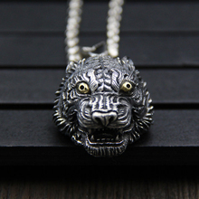 JINSE 2018 Hot Sale Jewelry Animal Tiger Shaped Necklaces Pendant Head Charms For Women Drop Shipping 28*39MM