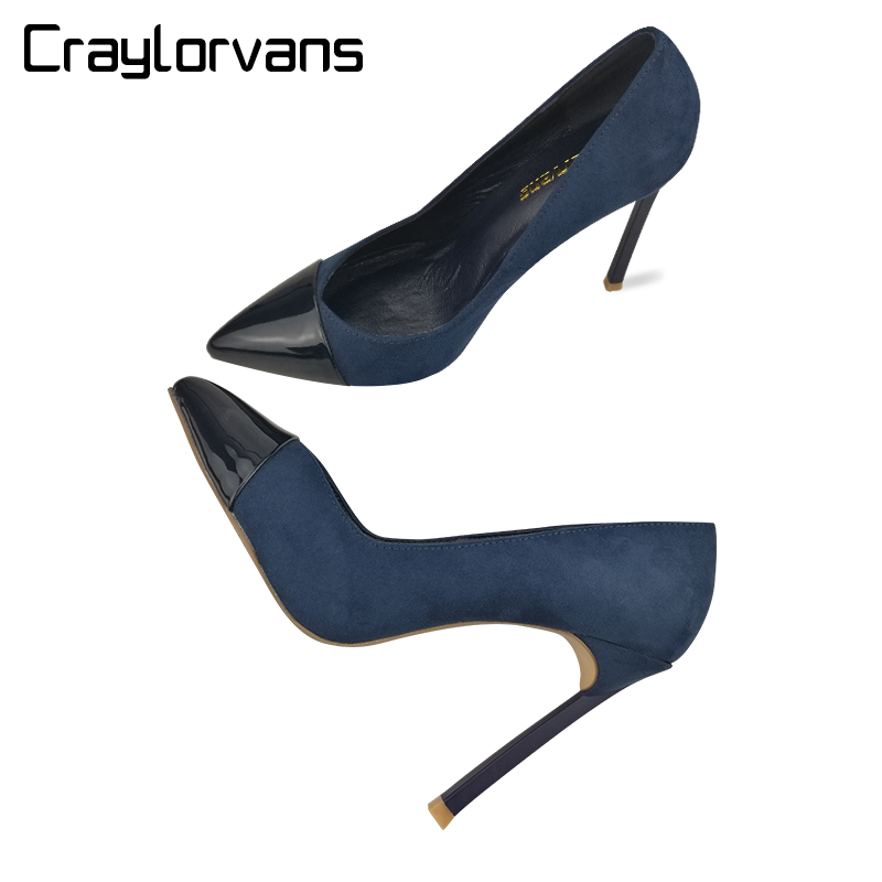 Craylorvans Top Quality 12/10/8CM Women Shoes Blue Suede High Heels 2018 NEW Fashion Handmade Luxury Female Ladies Pumps