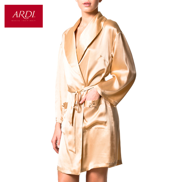 0a93ec6603 Silk dressing gown color Ivory R2059 48-in Robes from Underwear ...
