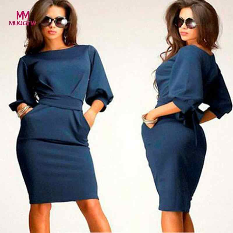 MUQGEW 2017 Top Fashion 1PC Womens Working Half Sleeve O-Neck Sheath Casual Office Slim Dress winter dress party dresses vestido