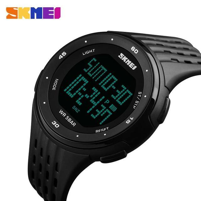 Choque Esportes SKMEI Marca Relógios Homens Cronômetro À Prova D' Água LED Relógio Digital Militar Estudantes de Moda Casual Pu Strap Relógio de Pulso