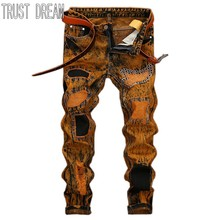 TRUST DREAM Europeans Style Men Punk Fashion Patchwork Jeans Vintage Paint Yellow Casual Slim Man Fashion Street Jeans