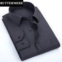 Formal Shirt Men Grey Long Sleeve Dress Shirt For Social Wedding Party Viscose Classic Solid Working