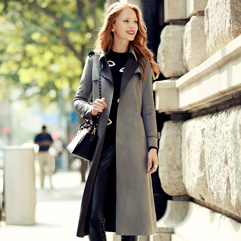 Qunitina 2016 New Fashion Trench Coat For Women Suede Slim ...