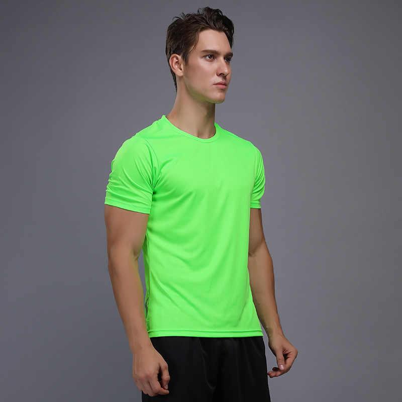 Gömlek Homme koşu erkekler tasarımcı hızlı kuru gömlek ince üstleri spor erkek spor Tee kas vücut geliştirme T Shirt