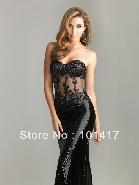 32667e252068 Sheer Strapless Bodice Beaded Lace Appliques And Boning Slim Full Sequined Mermaid  Evening Dress
