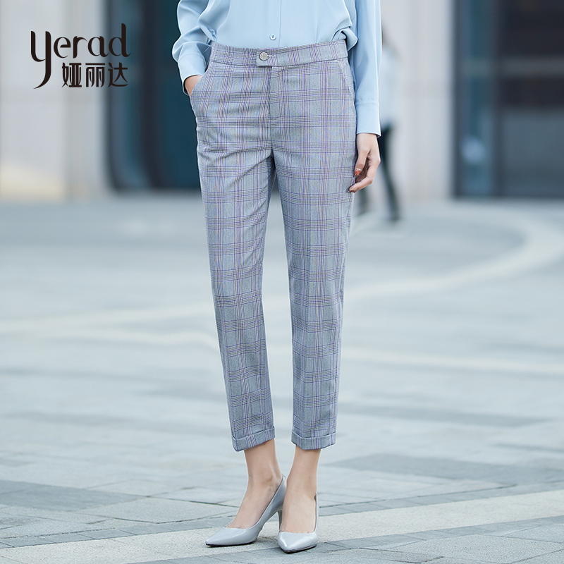 YERAD 2019 Spring New Women Grid   Pants   Casual Loose Pencil   Pants   Linen Plaid   Capris   Ankle Length Straight Trousers
