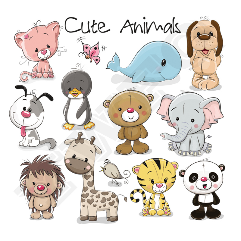 Cute Bear Animals Patches Washable Iron-on Transfers For T-shirt Children Gift Diy Clothes Stickers Lovely Dolphin Appliques