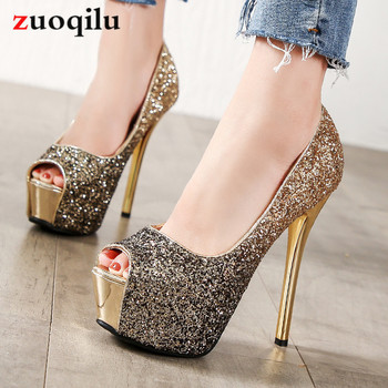 High Heels Platform Heels Shoes Woman Peep Toe Pumps Women Shoes Gold Silver Wedding Shoes Bridal Heels Ladies shoes talon femme aiweiyi women high heels prom wedding shoes ladies gold silver glitter rhinestone bridal shoes stiletto high heel party pumps