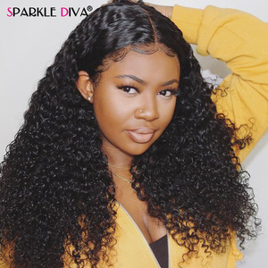 Brazilian Kinky Curly Human Hair Wig For Black Women 180 Density Remy 360 Lace Frontal Human Hair Wigs PrePlucked With Baby Hair(China)