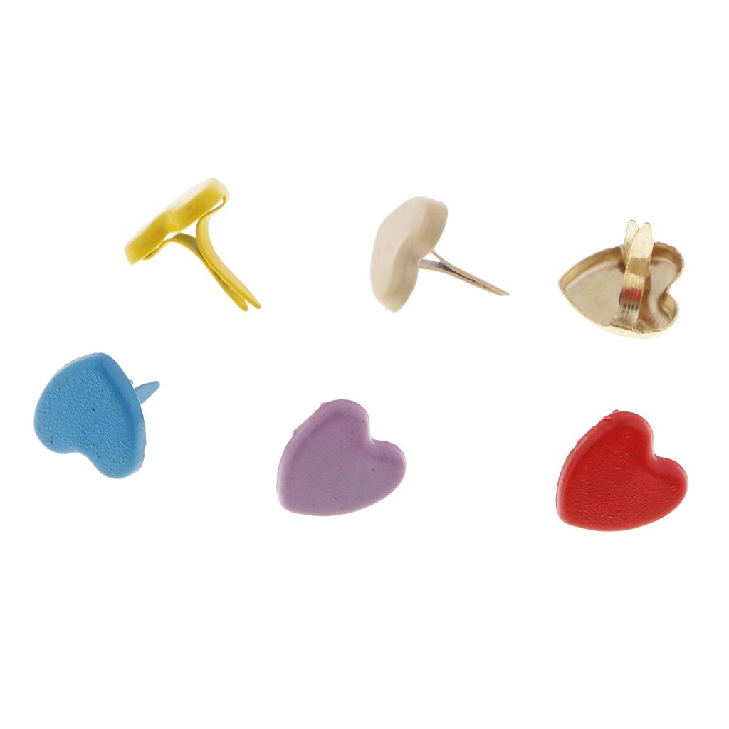 joyMerit 300x Heart Star Metal Brads Paper Fasteners Scrapbooking Embellishment Gold