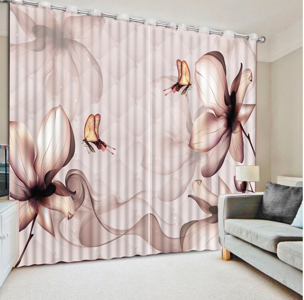 Luxury Blackout 3D Window Curtains For Living Room Bedroom flower lily curtainsLuxury Blackout 3D Window Curtains For Living Room Bedroom flower lily curtains