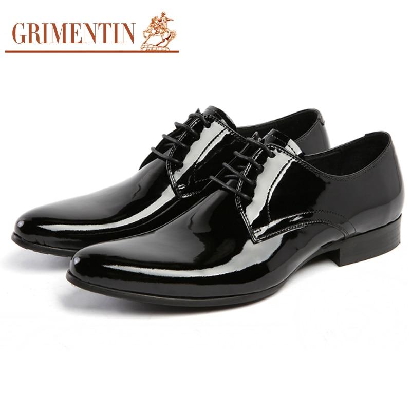the best attitude d8f50 7233a US $120.6 33% OFF GRIMENTIN Herren Lackschuhe Schwarz Marke Designer Männer  Echte Lederne Schuhe Spitz Männer Kleid Italienischen Leder Schuhe-in ...