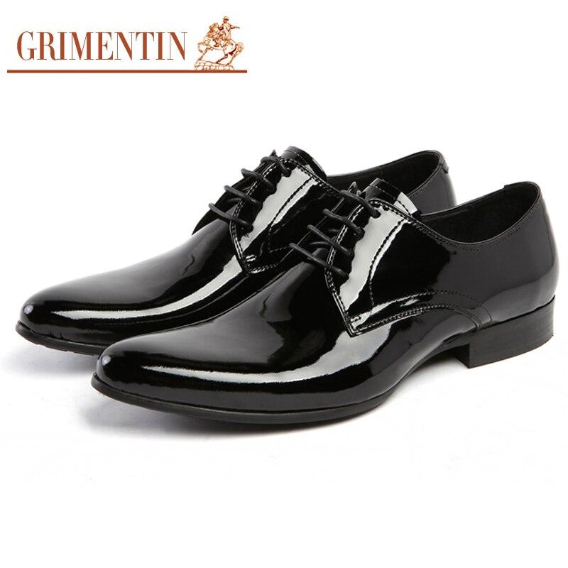 GRIMENTIN Mens Patent Leather Shoes Black Brand Designer Men Genuine Leather Shoes Pointed Toe Men Dress Italian Leather Shoes цена