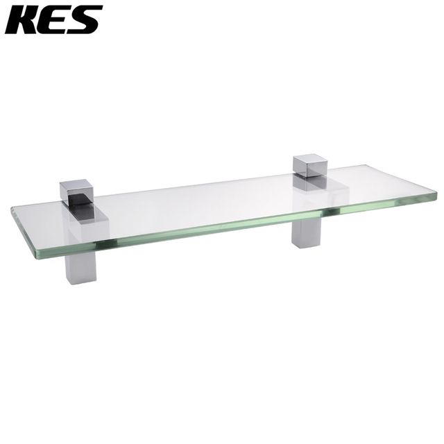 KES 14 Inch Bathroom Tempered Glass Shelf 8MM Thick Wall Mount Rectangular,  Polished