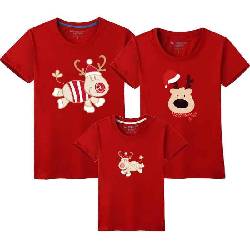 2019 Navidad familia mirada ciervo mamá y yo ropa dibujos animados conjunto de ropa familiar madre hija padre bebé camiseta