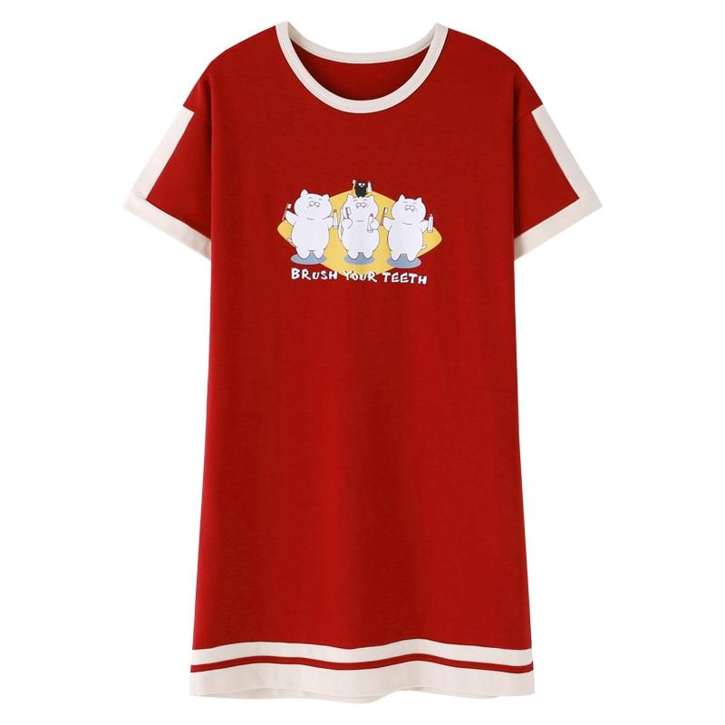 Women Soft Cotton Nightgown Short-sleeved Sleepshirts 2019 New Night Dress Cartoon Nightwear Nightdress For Women