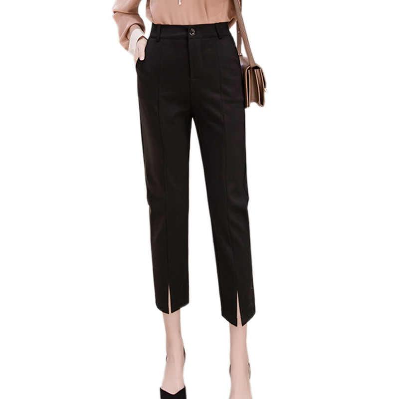 9110fd13b00 2018 Summer Korean Slim Elegant Split Formal Office Ladies Trouser Female  High Elastic Waist Harem Pants