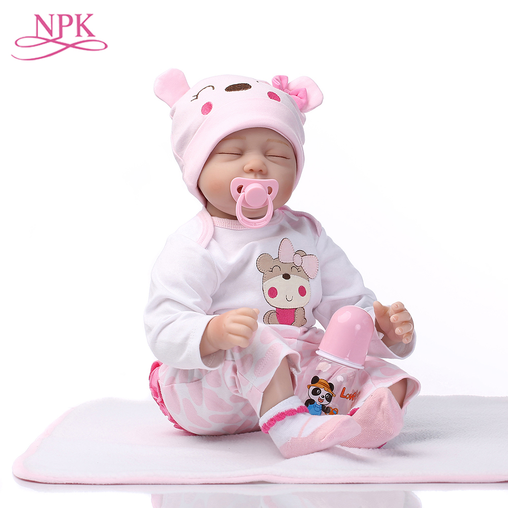 NPK Doll Reborn 55CM Soft Silicone Reborn Baby Dolls Vinyl Toys Big Dolls For Girls New Years Old Baby Dolls With Pink Cloth