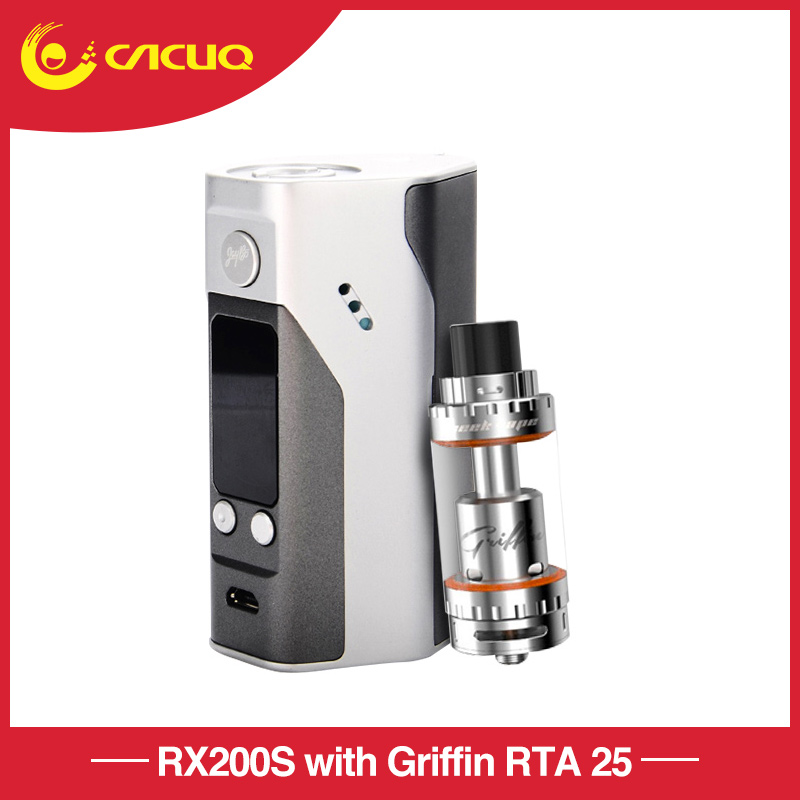 Wismec RX200S with Griffin RTA 25 Top Airflow atomizer silver temp control TC 200w mod Firmware