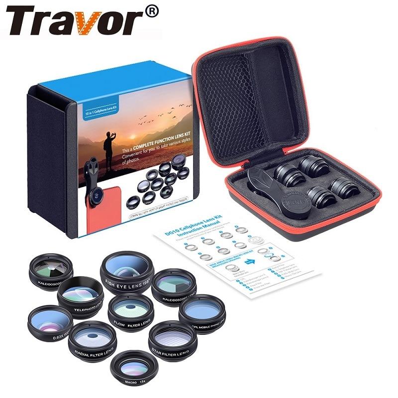 Travor kit lente do telefone caleidoscópio + 2x lente telescópio olho de peixe lente grande angular macro cpl filtro para iphone xiaomi samsung