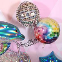 4D Balloons 22 inch Rainbow Gradient Disco Foil Balloons for Wedding Theme Party Celebration Ballons Birthday Decorations Balony