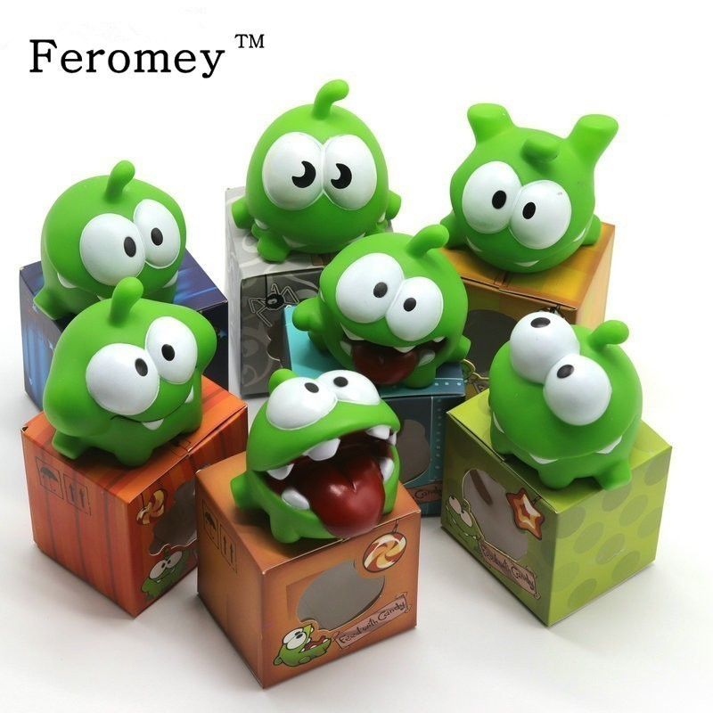 7pcs/lot Cut The Rope Baby BB Noise Toy Cut The Rope OM NOM Candy Gulping Monster Figure Toy Vinyl Rubber Android Games Doll