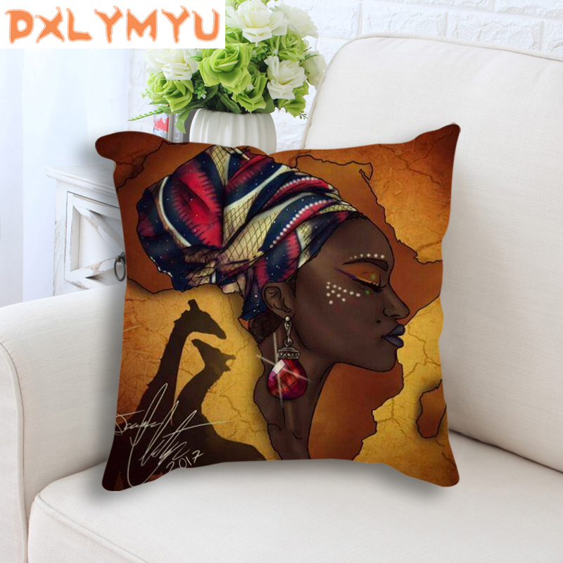 African Girl Lady Oil Painting Decorative Cushion Black Women Home Art Decoration Sofa Throw Pillow Case Linen Cushion Cover in Cushion Cover from Home Garden