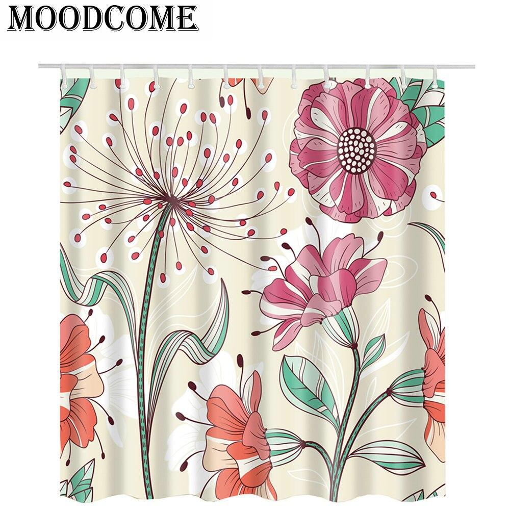 2018 New Arrival Flower Bathroom Curtain Waterproof Flora Shower Curtain Pink Flower Cortina
